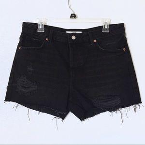 TOPSHOP Ashley distressed black denim shorts